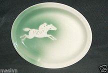 VINTAGE JOCKEY & HORSE EQUESTRIAN PLATTER-SYRACUSE CHINA-MINT