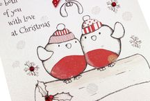 Fairy Tale Christmas / 'Fairy Tale Christmas' are handmade Christmas cards with the cutest designs on a softly textured high quality board,  with Christmas red gems, polka dot red bows and hand-applied glittery snowfall.
