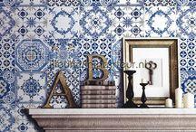 behang met tegeldessins / Authentieke tegels, moderne tegels, delftsblauwe tegels,  marokkaanse tegels en mosaic.