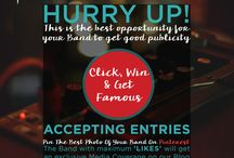 Pin it to Win it Contest! / If you have a band, we have the platform to make you famous!  Do not miss this opportunity to get an exclusive media coverage. Simply share the BEST image of your band. If you win the deal with maximum 'likes' on your image, you get featured on our website.   Hurry up & enter the contest cos you got to pin it to win it!