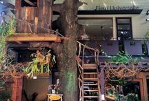 """UNI """"Fleur Universelle & Les Grands Arbres"""" / Our flower boutique and cafe business in Tokyo.  お花屋さんとカフェのコラボレーションが叶えた都会のオアシス。"""