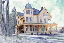 Victorian Era Homes and Buildings / Paintings of Victorian and Golden Age Era Architecture, houses, mansions, cottages, churches, office buildings and more by American Artist RD Riccoboni / by Rd Riccoboni