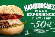 """Hamburguesa Week Experience / ¿Te apasionan las hamburguesas? ¿Se te hace la boca agua cuándo piensas en una deliciosa carne a la parrilla, con queso, cebolla, tomate…? Estás de suerte!! Del 21 de noviembre al 1 de diciembre disfruta de nuestra """"Hamburguesa Week Experience"""". 10 días para disfrutar de las mejores hamburguesas de Madrid y Barcelona con descuentos de hasta -50% en Carta ¿A qué esperas para reservar?  www.eltenedor.es"""