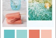 kitchen tea coral and teal