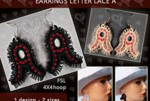 Earrings letter lace alphabet