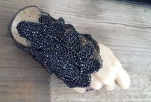 AMD inhouse textile jewelry collection / custom beaded and lace glovelets sold at maxfiled la and just one eye
