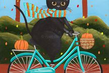 Cats riding bikes