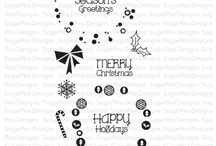 Funky Wreaths - Christmas / SugarPea Designs - Funky Wreaths - Christmas Stamp Set Inspiration Board