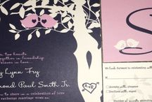 Purple and lilac love birds / Purple and lilac love bird wedding invitations