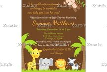 Cute Safari Animals Baby Shower / This collection features cute giraffe, elephant, lion, zebra and monkey. The background consists of yellow, orange, brown and green stripes.