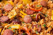 Smoky Sausage rice and pepper skillet