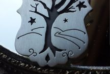 handcut sterling silver jewelry / Whimsical handmade jewelry