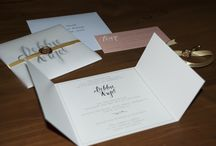 Our Wedding Invite / Our wedding invitation with hand drawn lettering. Printed on Iri Pearl stock wrapped in tracing paper and ribbon then sealed with a wax seal.