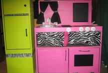 handmade kids kitchen from microwave stand
