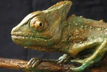 Bronze Sculpture - Dwarf Chameleon / This sculpture is an enlargement of the Dwarf Chameleon of the KwaZulu Natal Midlands. I consider it good fortune to find one as they are rare and shy little creatures.