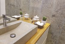 Grey limestone bathroom. / grey limestone application in bathrooms in many type of design, modern contemporary and antique