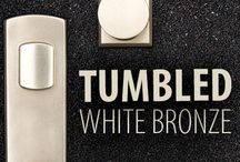 Tumbled White Bronze Door Hardware / We've re-imagined sand casted White Bronze in a way that celebrates the authenticity of the material and brings out its natural texture.  Tumbled White Bronze embraces the imperfections that organically occur during the casting process, making each piece of hardware unique.   A hand applied wax coat creates a living finish, letting the hardware respond to the world around it and age beautifully.  Every piece possesses its own individual look and character.