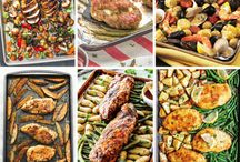 "RECIPES: Sheet Pan Dinner Ideas / Never ask ""What's for dinner"" again with these easy one pan meals you can make ahead. Sheet pan dinners are the answer for busy nights and bust moms."
