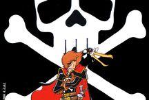 Capitan Harlock (宇宙海賊キャプテンハーロック Uchū kaizoku kyaputen Hārokku / è un manga di fantascienza scritto e illustrato da Leiji Matsumoto, serializzato dalla Akita Shoten dal 1977 al 1979.La serie segue l'omonimo protagonista, un emarginato diventato pirata spaziale dopo essersi ribellato contro il governo della Terra e l'apatia generale dell'umanità.