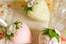fabric strawberries / Pincushions and more...