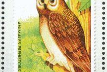 Birds Stamps 3 Owls