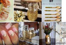Une décoration de fête tout en dorée et pailletée ! / Voici quelques illustrations d'une décoration de fête chic et glamour sous le thème du dorée et pailletée très tendance et originale.