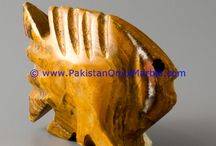 ONYX FISHES MULTI BROWN ONYX HANDCARVED STATUE SCULPTURE