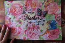 Mother's day / Water colours By Gül ipek   All of these works made of paper and all of them designed by me PAPER ART