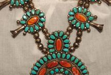 Native American Silver and Turquoise Squash Blossom Necklaces