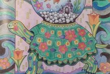 Pampered Pets completed pages / Pampered Pets is a coloring book for adults illustrated by Marjorie Sarnat.  Marjorie's artwork is quirky and tends to look like tapestry or patchwork.   #marjoriesarnat #pamperedpets #creativehaven #dazzlingdogs #creativecats