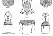 Hepplewhite 1727-1786 / Light and elegant furniture fashionable at the end of the 18th century, shield shaped chair back, shorter and more curved chair arms, straight legs all without curving, frequent use of satinwood and walnut, 1788 publication of Cabinet Maker and Upholsterer's Guide. / by Morgan Sedgley