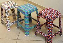 cadeiras com tecido.