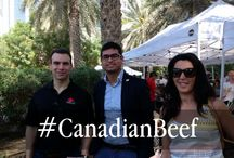 Canada Flag Day Celebrations February 2015, Doha, Qatar / On Friday Feb 13th Canada Beef, along with the Canadian Embassy and Ag Alberta sponsored a consumer BBQ featuring Canadian beef rib eye, strip loin, braised chuck short ribs and beef burgers which can be found at the Lafayette Gourmet in Gallaries Lafayette in the Dubai Mall, and at Baker and Spice, a premium restaurant in the Trading Sooke next to the Dubai Mall.  Canadian products were prepared by the Celebrity Chef Izu and Christoph Weder.
