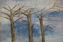 Winter Themes / Children at little Picasso creating a winter storm with tempera paints and salt