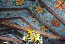 потолки  конек дерево роспись