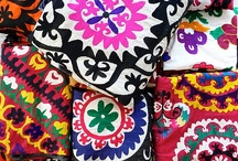 Suzani / Suzani is a type of embroidered and decorative tribal textile made in Tajikistan, Uzbekistan, Kazakhstan and other Central Asian countries. Suzani is from the Persian سوزن Suzan which means needle. The art of making such textiles in Iran is called سوزنکاری Suzankāri (needlework).