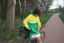 green easter / green raincoat , waterproof outfit great for bicycle ride around the town during the night - it has illuminating parts that make you visible for car drivers….feel free to contact me if you want to order one of these :)