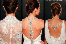 Sexy Back / Leave a lasting impression as you recess down the aisle in these gowns with dramatic backs of dazzling rhinestones and bold lace appliques.