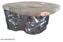 mesa acero y madera / mesa acero rugoso y madera