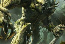 ent / Un ent es un guardián de los bosques, híbrido entre hombre y árbol. Brazos formados por ramas, tienen largas hojas y miden entre 4 y 5 metros.
