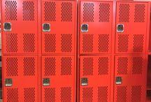 Polytechnic High School - Fort Worth, TX #Lockers #DeBourgh / #Corregidoor #SunsetOrange #SentryTwoLatch #DiamondPerforation #PianoHinge #ClosedBase #ThatColorThough #DeBourghMadeSon #Lockers #DeBough