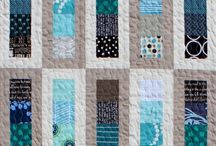 Blue / grey / teal / chartreuse quilts