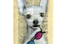 Drawing Illustration Digital Print Mixed Media Art Posters / Love to see old pages such as dictionary pages with art printed over them. So creative, so beautiful