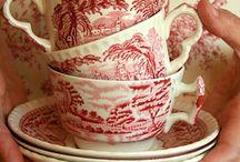 Pink and white china