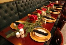 Christmas table ideas  / Peonies. Roses. Evergreen. Wood vases. Birch candles.