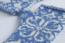 Fingerless mittens / crochet and knit