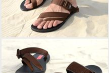 Leather sandals and shoes