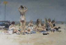 people at the beach paintings / I love these paintings (most @ Robert Vorstman)