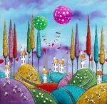 """Dale Bowen / Whimsical Contemporary Art With 3D effects and an acrylic resin giving great texture and depth.  Described as """"Art that makes you smile"""""""