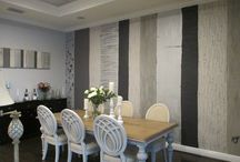 Sculpted wall finish / Dining room with a sculpted finish inspired from an art piece